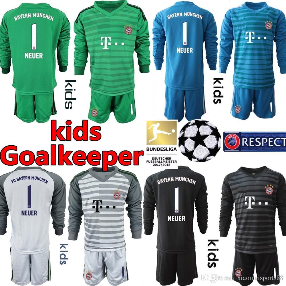 best service 5af9f 06552 2018 2019 Munich Long Sleeve Bayern kids kit Soccer Jerseys JAMES  LEWANDOWSKI MULLER ROBBEN NEUER Goalkeeper 18 19 Football Shirt