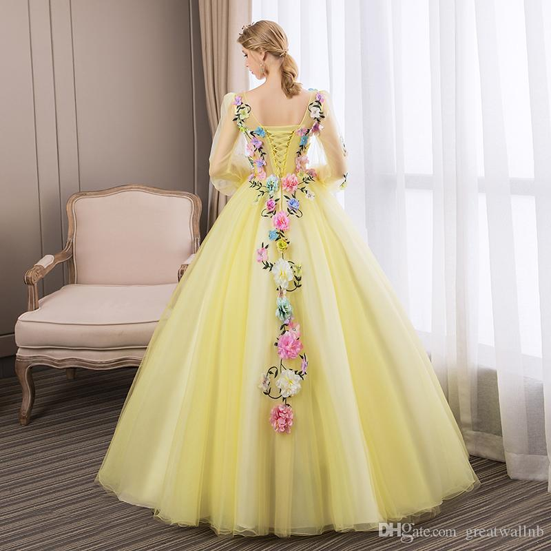 Freeship yellow flowers fairy ball gown medieval dress cartoon princess  Medieval Renaissance Gown queen cosplay Victoria dresspin