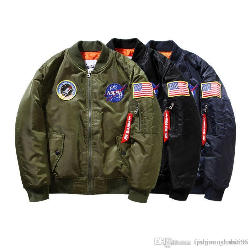 620f0e742 Wholesale- 2019 Ma-1 NASA Navy Flying Jacket Nylon Thick Winter Letterman  Varsity American College Bomber Flight Jacket For Men
