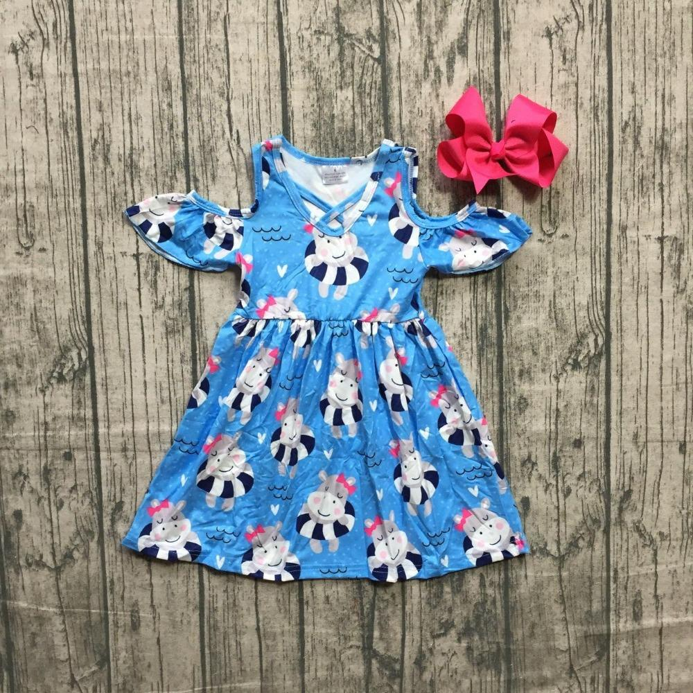 0fa45d56e 2019 New Arrivals Summer Cotton Baby Girls Boutique Clothes Dress Cow  Swimming Ring Off Shoulder Blue Ruffles Match Bow Knee Length From  Sophine13, ...