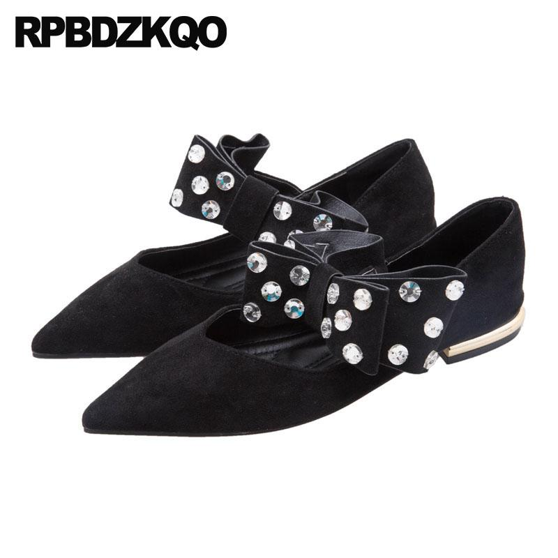 a216b5a8426434 Bow China Pointy Mary Jane Slip On Black Rhinestone Crystal Suede Women  Ladies Beautiful Flats Shoes Pointed Toe Diamond Cute Shoes Uk Pumps Shoes  From ...