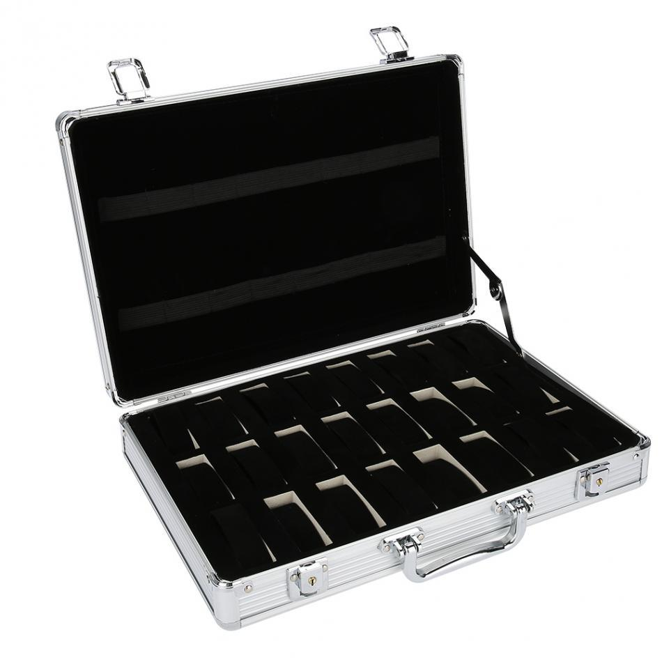 24 Grid Aluminum Suitcase Case Display Storage Box Watch Storage Box Case Watch Bracket Clock Clock