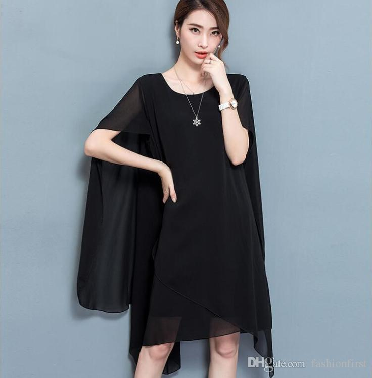 Fashion Plus Size Summer Cape Dress Summer Poncho Chiffon Dresses
