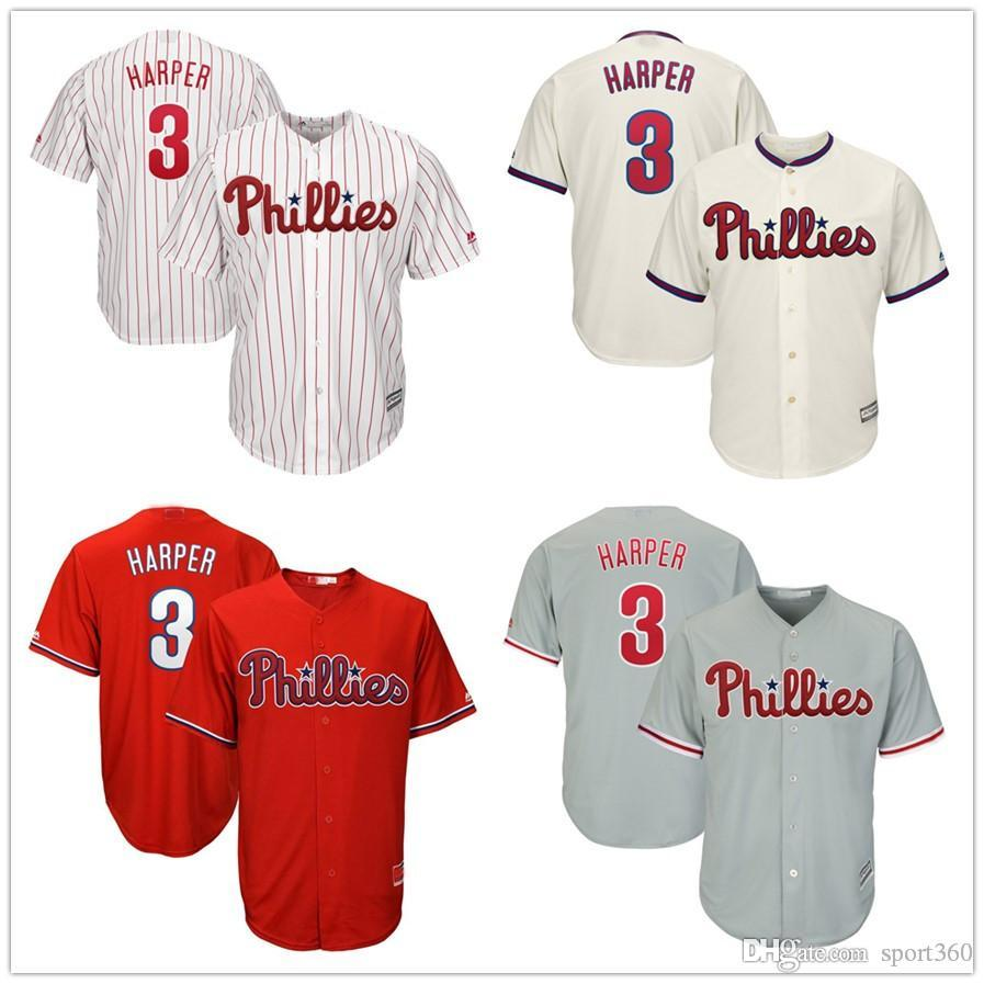 lowest price a518a 46613 NEW 3 Bryce Harper Jersey Philadelphia Phillies Red stripe Blue White Mesh  Retro Majestic Alternate Cool Base Harper Baseball Jerseys