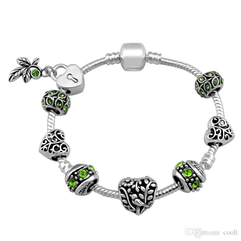 Summer New Design Green Natural Silver Plated Charm Pandora Bracelets For Women Fashion Bracelet Diy Jewelry With Gift Bag 18 19 20 21CM