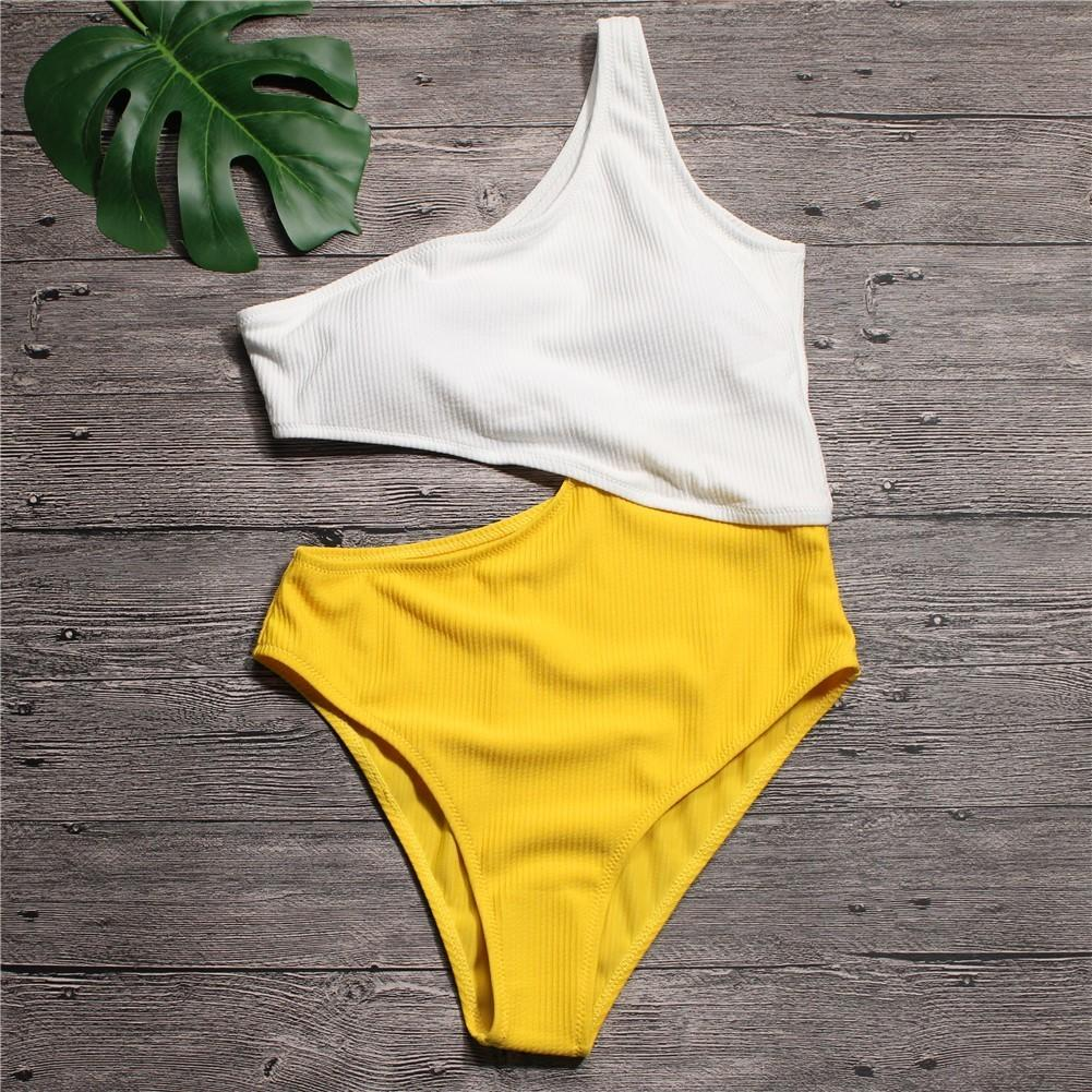 2bb02a5aa6f Sexy White Yellow High Waist Cut Out Trikini Ribbed Bathing Suit Monokini  Asymmetric Shoulder Swimwear Women One Piece Swimsuit C18122801 Sexy Gift  Sets ...