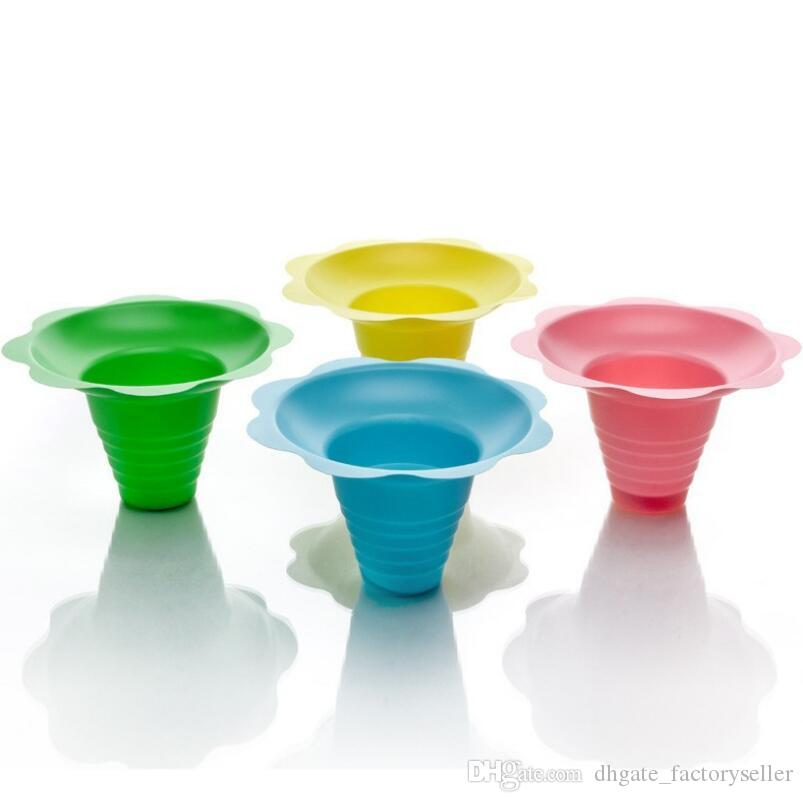1000pcs/lot disposable plastic ice cream Parfait sundae cup Flower shape cups Bowls 250ML Event Party Wedding LX6882
