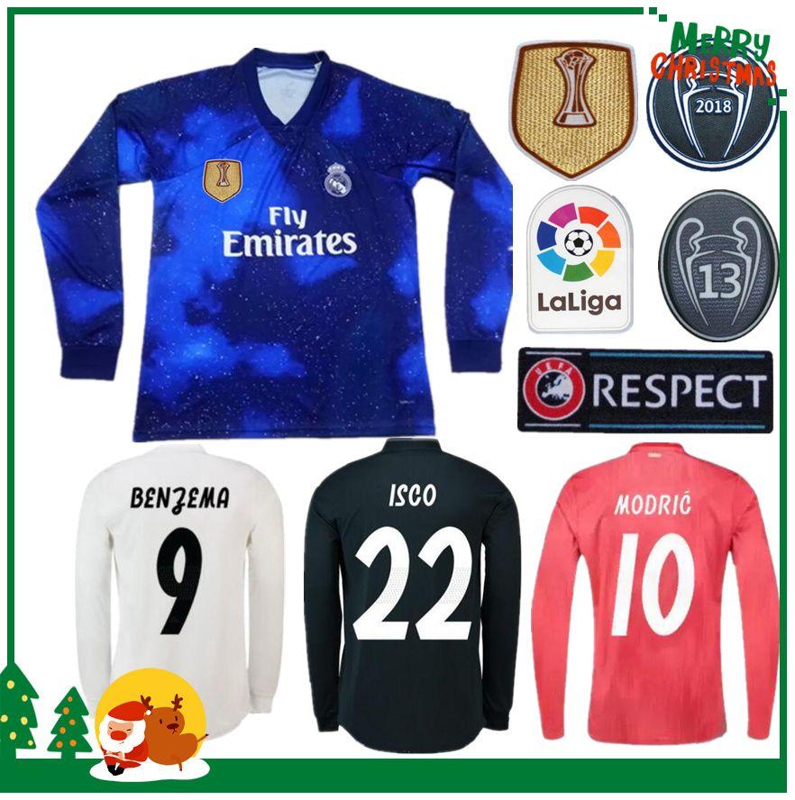 ccdc0057 2019 Long Sleeve 18 19 Real Madrid Soccer Jersey 2018 2019 Home Soccer Shirt  #8 KROOS #22 ISCO Modric Football Uniform From Kongjunlin, $16.25 |  DHgate.Com