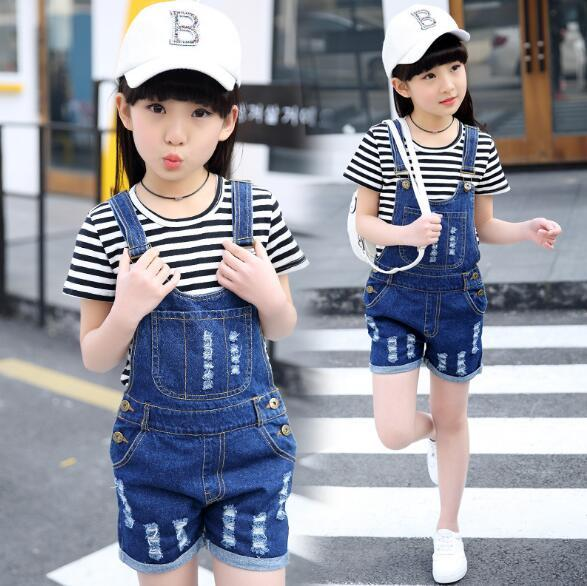 ad9a2db7818c 2019 4 15Y Girls Denim Overalls Sets Summer Children Clothing Casual ...