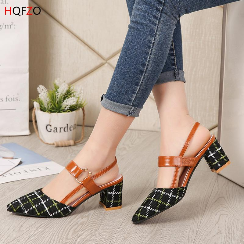 c773910eb0f Dress Shoes Hqfzo Sandalet Women Chunky Block Heels Pointed Toe Grid  Slingback Buckle Pumps Fashion Office Spring Summer Woman  6cm Pink Shoes  Munro Shoes ...