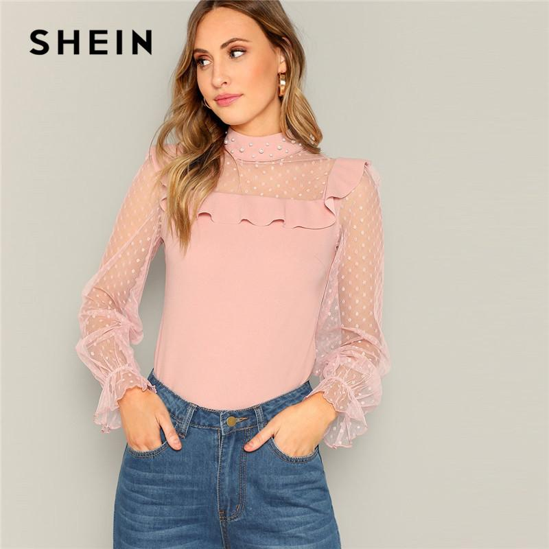 e617b4c92fac 2019 SHEIN Pink Ladies Dot Sheer Mesh Pearl Beaded Detail Stand Collar Top  Women Spring Ruffled Sleeve Minimalist Elegant Blouses From Vanilla10, ...
