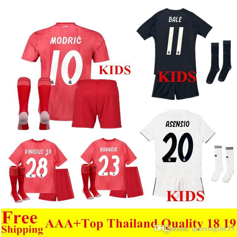 0425a0db0ee 2019 2018 2019 New Real Madrid Kids Soccer Jerseys Sets MODRIC 18 19 Third  Red Child Soccer Shirts RAMOS ASENSIO ISCO Bale Football Kit From  Qianxingzhe33