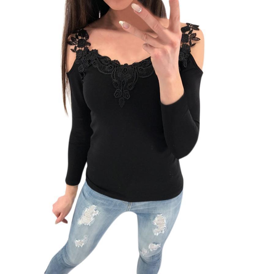 Women Spliced Lace Blouse 2019 Spring Long Sleeve Open Shoulder Shirt Black  Slim Tops Camisa Feminina  L UK 2019 From Jamie21 2d3966a0b