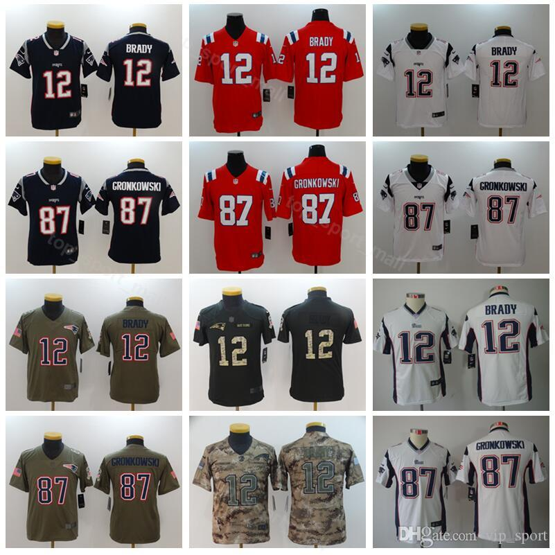 abfad0e3 Youth Patriots Jerseys 12 Tom Brady 87 Rob Gronkowski Kids Football Jersey  Children Navy Blue White Red Top Quality Camo Army Limited