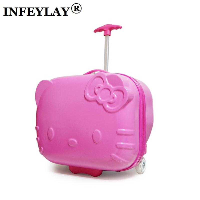 16e3e33d0a43 HOT Hello Kitty 17 Inches ABS+PC Girl Cartoon Pull Rod Box Trolley Case 3D  Child Travel Luggage Anime Suitcase Kids Boarding Box Travel Duffel Bags  Duffle ...