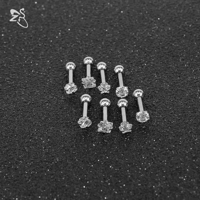 ZS Crystal Stud Earrings for Women Stainless Steel Round Earring Screw Ball Star Children Earrings boucle d'oreille