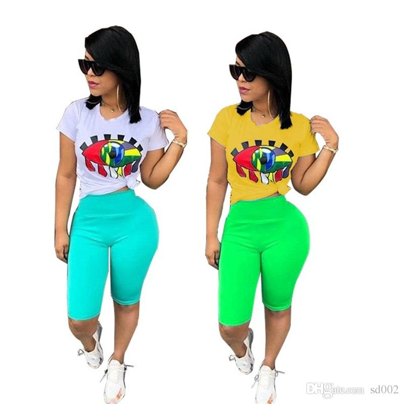 Big Eyes Yoga Tracksuits Kit 2pcs One Set Print T Shirts Short Pants Sportswear Summer Ladies Sports Home Clothing 40ym E1