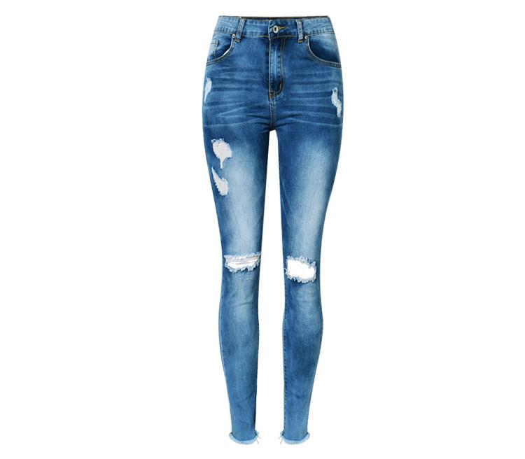 9af5c9d064 High Waist Hole Ripped Jeans Women Navy Blue Cotton Scratched Skinny Jeans  Femme Push Up Bleached Fashion Vaqueros Mujer Spring