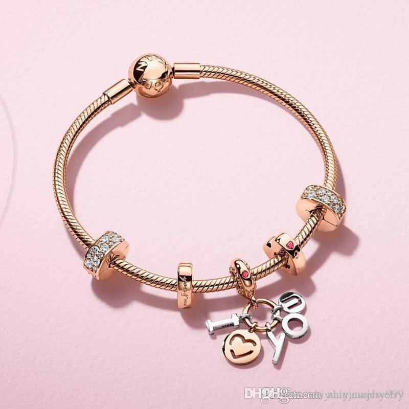 44fece7922b94 valentine gifts Pandora rose gold I love you pendant charm bracelets 925  sterling silver jewelry full package