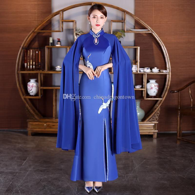 Chinese tang suit style women Sexy Evening Dresses Long sleeve Qipao Red Blue lady vestido Open Slit Modern Party Dresses oriental gown