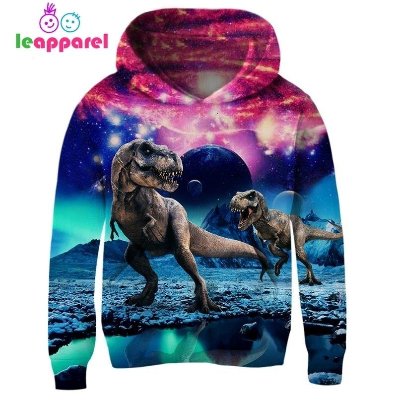 New Autumn Dinosaur Baby Girls Boys Hoodies 2019 Long Sleeve Hooded Coat Pullover Clothes Kids Hoodies Sweatshirts 3T~13T T190921