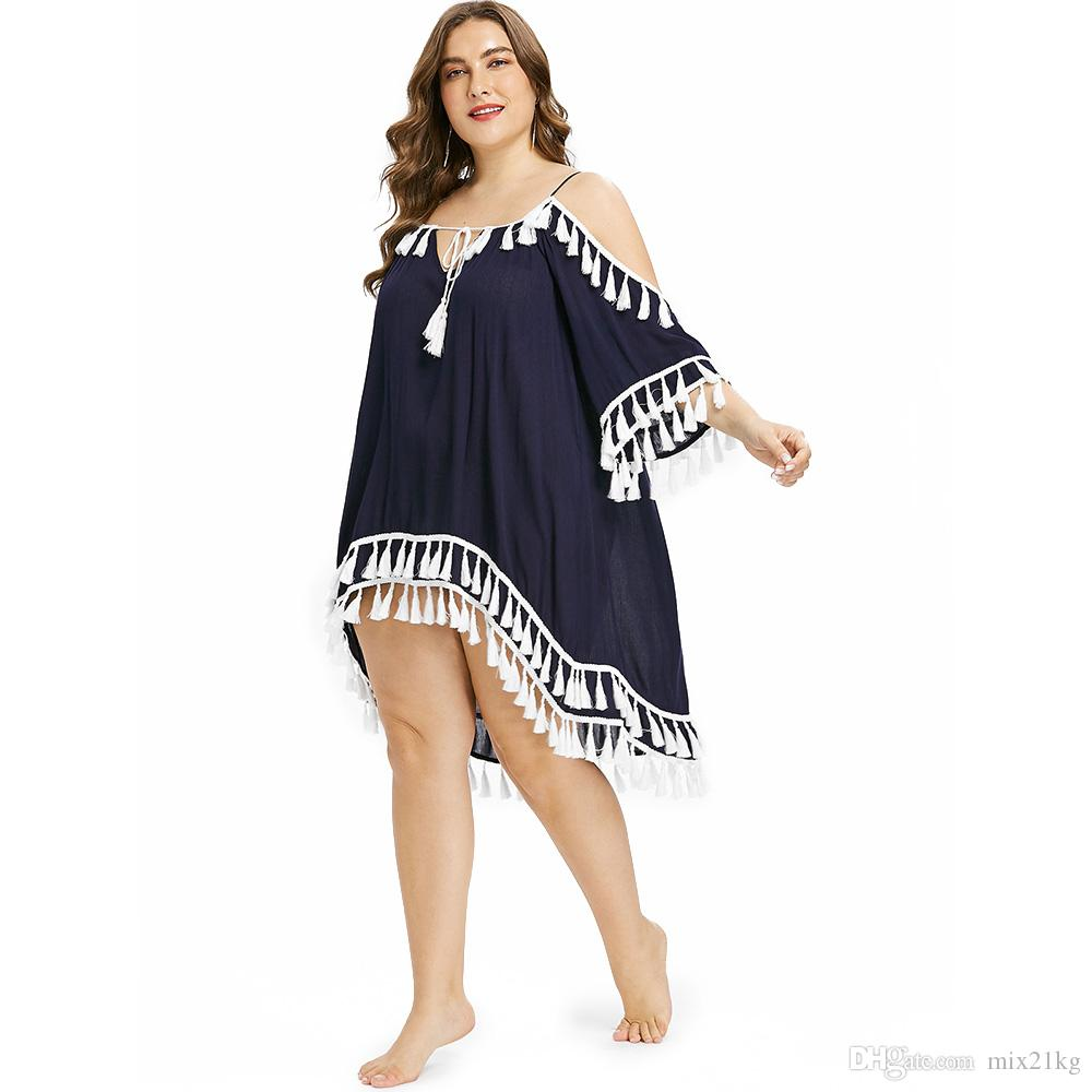 8a5dd9f32e Cheap AZULINA Plus Size Women Cover Up Tassel High Low Beach Cover Up Tie  Front CoverUp Bell Sleeve Bodysuit Swimwear Beach Wear Tunic