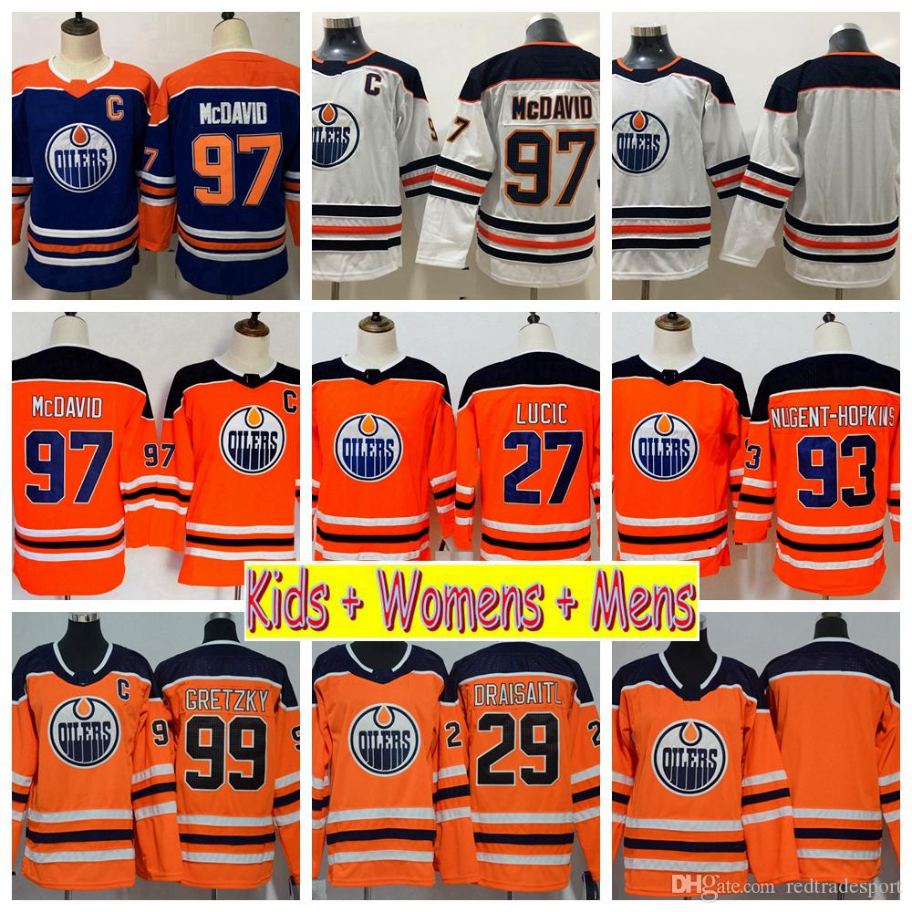 new arrival e05f3 88699 2019 Youth Edmonton Oilers Hockey Jerseys 99 Wayne Gretzky 97 Connor  McDavid Milan Lucic Draisaitl Nugent-Hopkins Kids Womens Mens Shirts