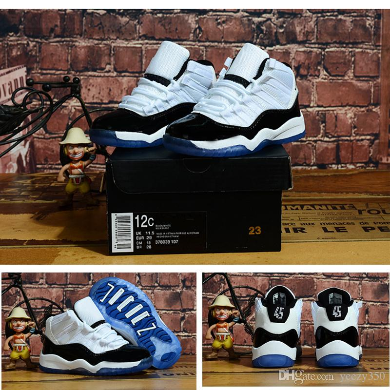 watch c414c 135f1 11s XI 2018 Concord 45 Children Kids Basketball shoes White Black Space Jam  11 Toddler Sneaker Infant trainers