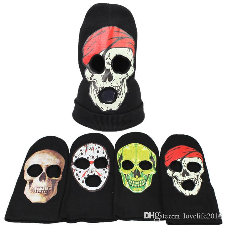 7bfe80fe75c 2019 New Skull 3 Hole Face Mask Beanie Winter Warm Ski Snowboard Knitted  Caps Wear Balaclava Full Face Cover Mask Halloween Cosplay Costume Crazy  Hats Mens ...