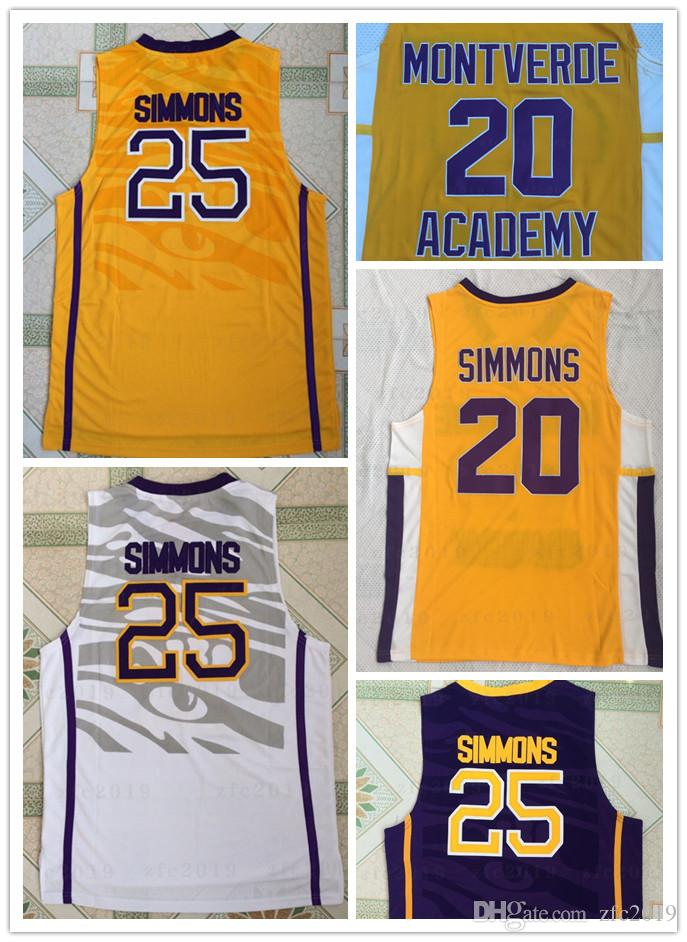 reputable site e1a14 aa467 NCAA LSU Tigers College #25 Simmons Jersey Montverde Academy Eagles #20 Ben  Simmons Jersey Men Basketball Sticthed White Yellow Purple