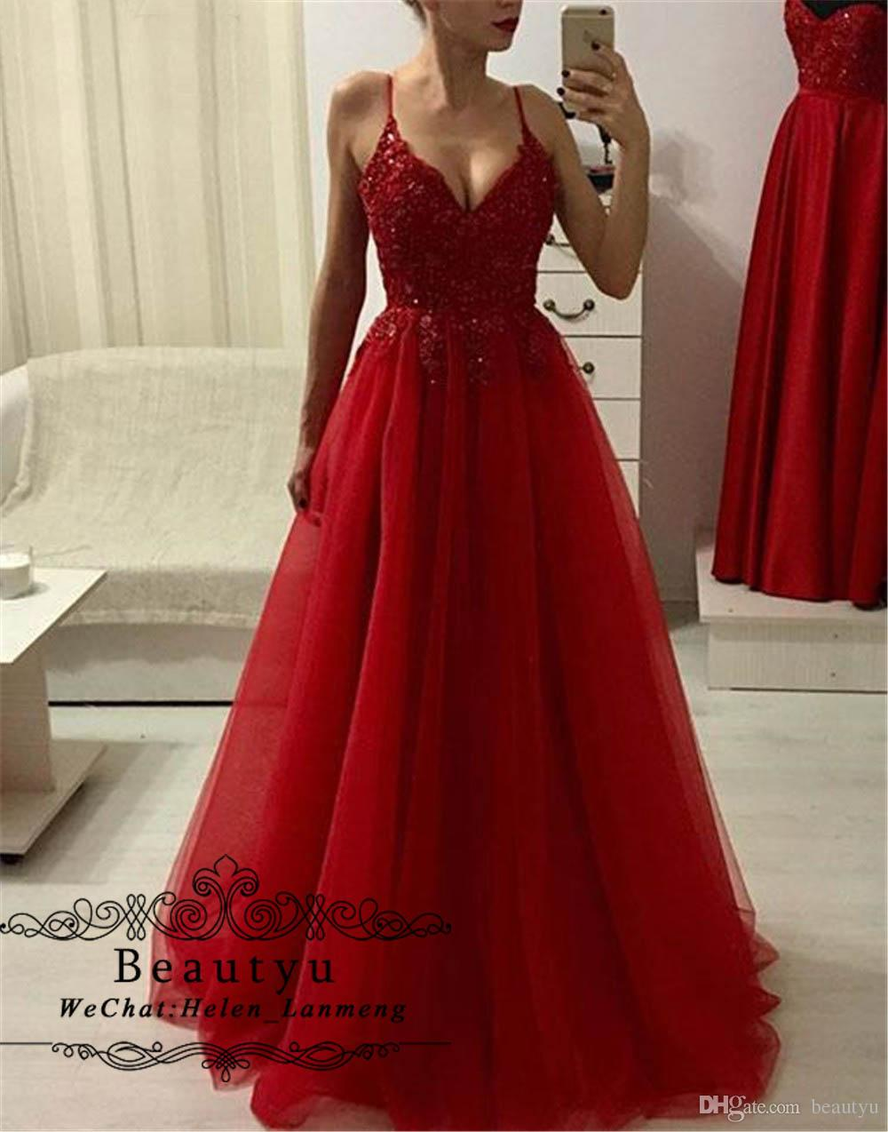 9948170859 Red Tulle Long Prom Dresses 2019 Sexy Spaghetti Strap A Line Beaded Lace  Appliques Cheap Evening Formal Dress Special Occasion Gowns Cheap Prom Dress  Cheap ...