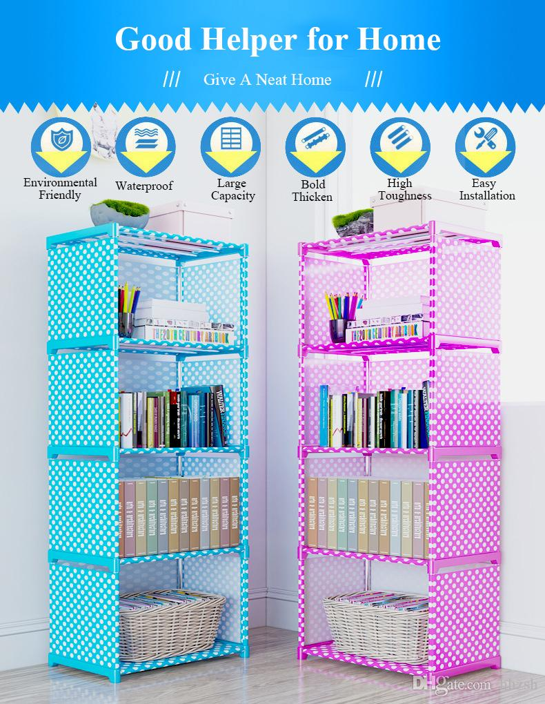 Simple Multi-Tier Waterproof Bookshelf Creative Storage Shelf for Books Plants Sundries DIY Combination Cabinet Fabric Children Bookcase
