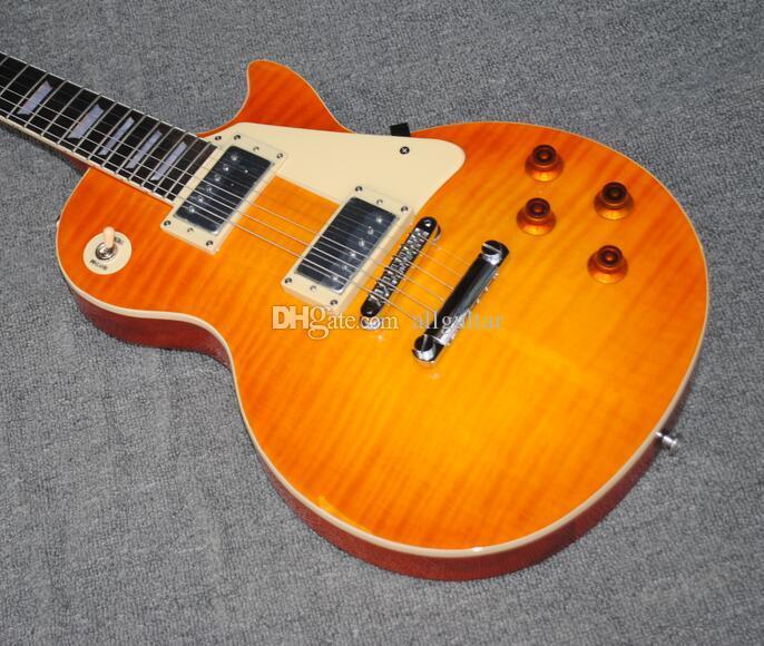 Custom Relic Aged Guitar Gary Moore Orange Burst Relic Aged Flame Maple  Electric Guitar ABR-1 TUNE-O-MATIC BRIDGE One Piece Neck