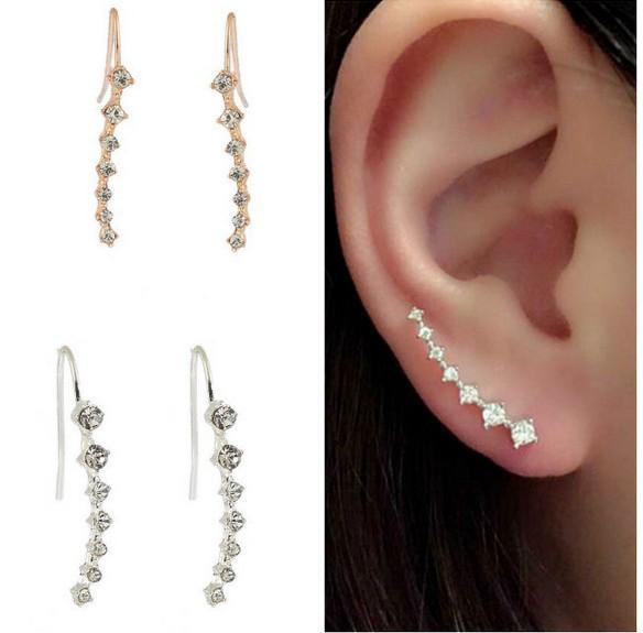 29a249b02fa06 Ear Climbing Earrings 7 Rhinestones Silver/Gold Crystal Sparkle Rhinestone  Ear Cuff Ear Stud Pin Earrings