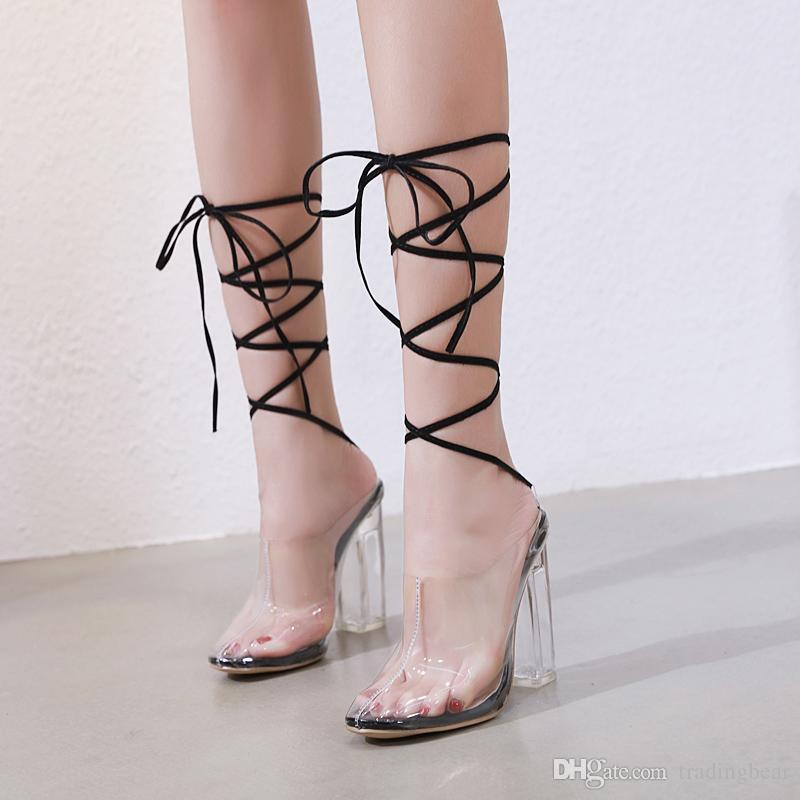 a49f4a961fc Acheter 2019 Sexy PVC Transparent Cristal Talon Cheville Wrap Chaussures  Femmes Designer Talons Hauts Taille 35 À 40 De  29.68 Du Tradingbear