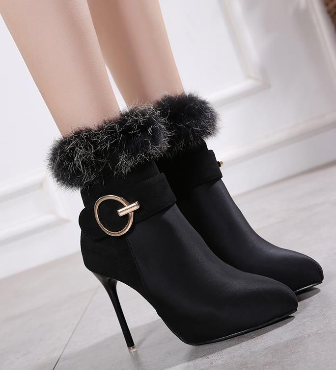 lüks tasarımcı kadın tasarımcı bot kürk botları yüksek topuk ayakkabılar kadın ayak bileği patik tasarımcı boyutunu 34 40 tokası çizmeler