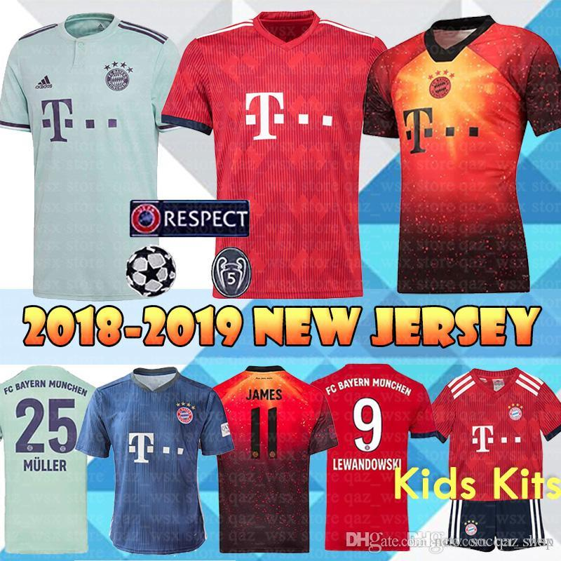 reputable site 9d742 5f76e 18 19 Bayern Munich Home Soccer Jerseys Men s Kids Kits Müller JAMES  LEWANDOWSKI ROBBEN RIBERY VIDAL Top sales Away Football Shirt