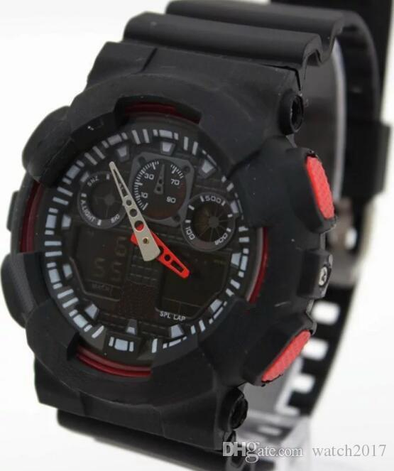 BLACK CASE male china new HOT cheap Candy quartz children plastic G LED Swimming GA-100 sport Camouflage watches Classic S Shock men watch