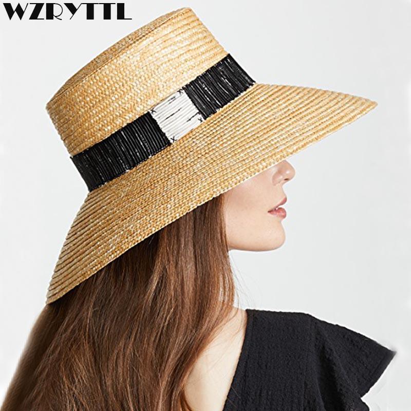 ca998d83 Natural Floppy Women Summer Hat Ladies Sun Hat Woven Wide Brim With  Textured Black White Band Beach Straw Fedoras Headwear Felt Hat From  Newcollection, ...