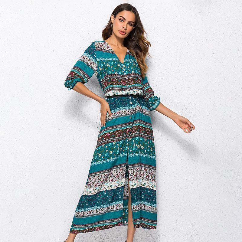 e7b17ddc21 Compre 2018 Nueva Impresión Bohemia Vestido Largo Mujer Maxi Vestido Largo  Estampado Floral Retro Hippie Vestidos Ropa De Marca Elegante Boho Vestido  ...