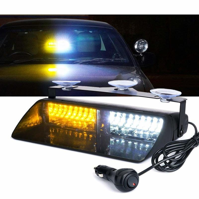 White and Yellow 16 LED High Intensity LED Law Enforcement Emergency Hazard  Warning Strobe Lights For Interior Roof/Dash / Winds