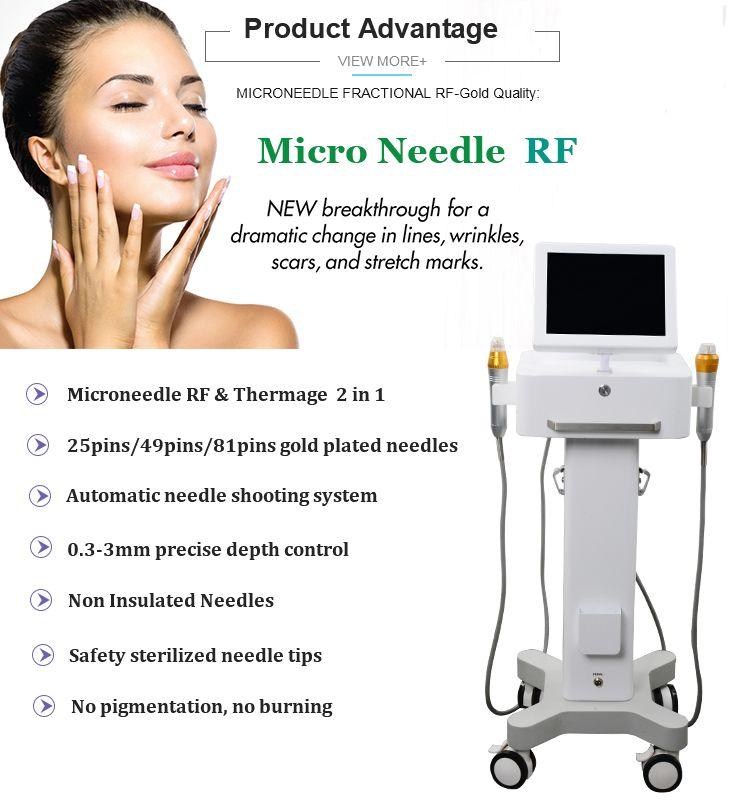 Fraksiyonel RF Microneedle Yüz Bakımı Altın Mikro İğne Cilt Rulo Akne Skar Streç Işareti Kaldırma Tedavisi Profesyonel Güzellik Salonu Makinesi