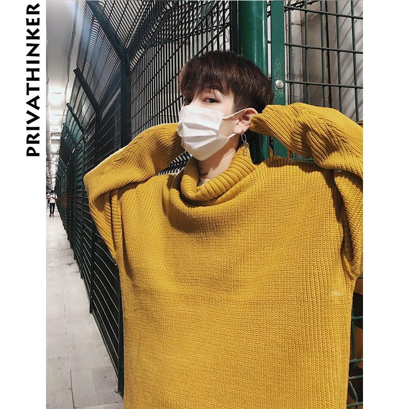 d1299f0c77 2019 Men Solid Turtleneck Sweaters 2018 Man Oversized Pullover Winter  Sweaters Couple Korean Hiphop Loose Black Clothing From Winen