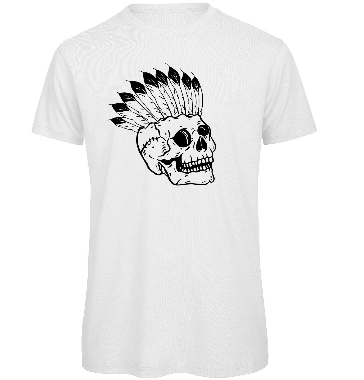 e4f292632835 High Quality Custom Printed Stitched Up Mohawk Skull Organic T Shirt 100%  Cotton Casual Printing Short Sleeve Men T Shirt O Neck Designer White Tee  Shirts ...