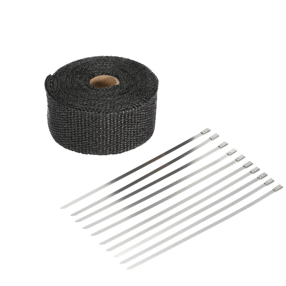 Motorcycle Exhaust Pipe Header Heat Wrap Resistant Downpipe 10 Stainless Steel Ties 5mx5cm for Car Motorcycle Accessories