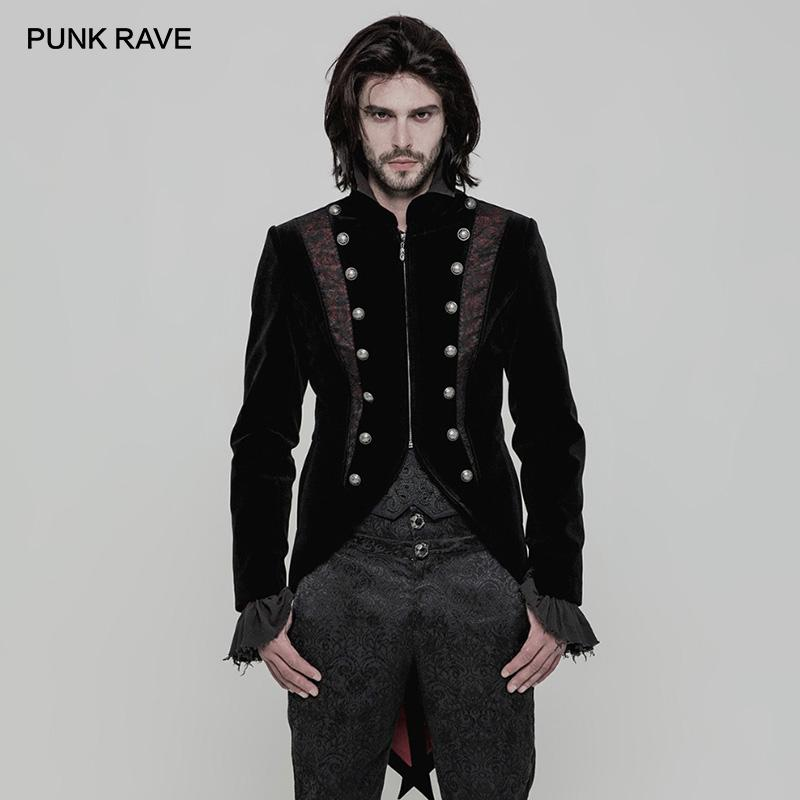 a607fe4fa053 PUNK RAVE Gothic Gorgeous Black Red Velvet Jacquard Tailcoat With Back Uses  The Corn Mens Coats And Jackets Goth Dresses Ohio Hockey Team Nhl Outerwear  Men ...