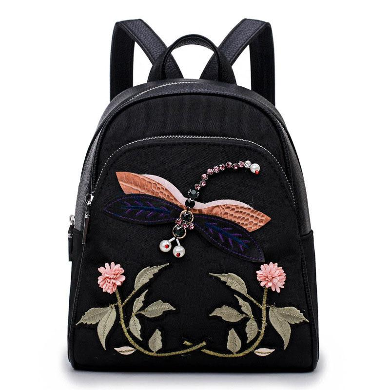 2a53997aec39 Fashion Ladies Girls Pu Nylon Zipped Shoulder Bags Gifts Popular Women  Vintage Cute Flowers Dragonfly Embroidery Backpack Good Quality Backpack  Purse Dog ...