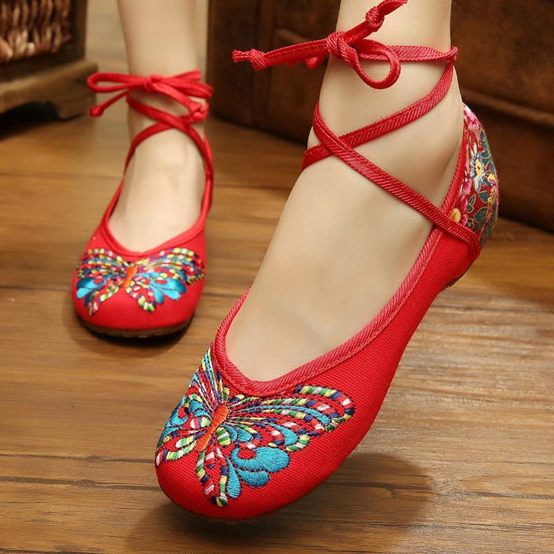 d931bbe2c6178 Women New Ethnic Butterfly Printed Ankle Strap Low Increasing Heels Female  Casual Cotton Fabric Lace Up Shoes Ladies Soft Casual Shoes For Men Mens  Sandals ...