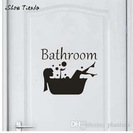 Bathroom Wall Sticker Letter Removable Art Vinyl Mural Home Room Toilet Door Vinyl Decal Transfer Vintage Decoration Quote Art