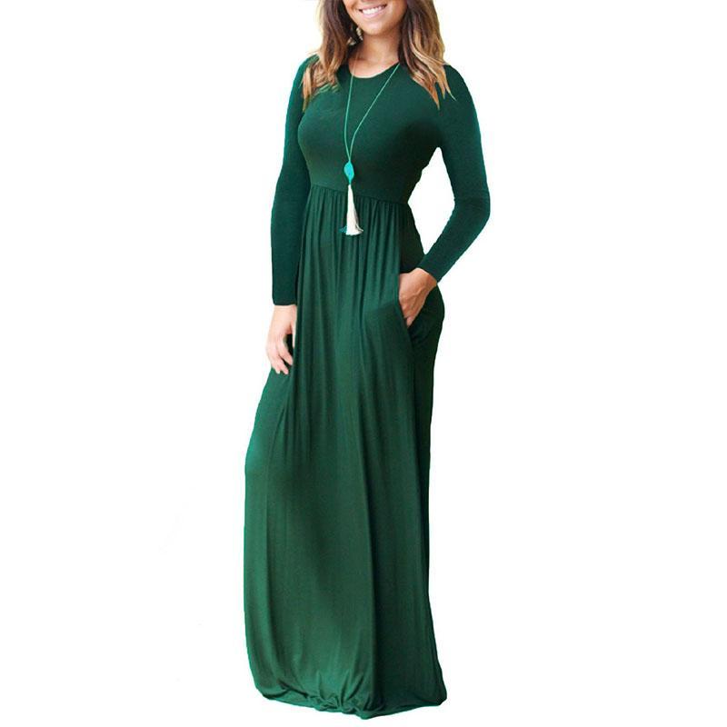 d7e2aad2dd1d Acquista Primavera Autunno Vestito Di Maternità Le Donne Incinte Vestiti O  Collo Solido Maxi Vestito Gravidanza Abiti Gravida Abbigliamento Taglia S  2XL A ...